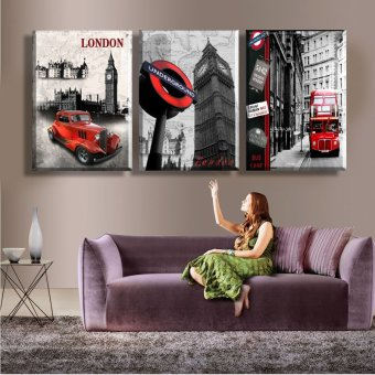 3 Piece Hot Sell Modern Wall Painting London city scenery HomeDecorative Art Picture Paint on Canvas Prints(No frame) - 2