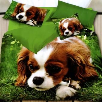 3 Pieces King 3D Bedsheet Brittany Spaniel Puppy Theme Fitted Sheet Cover Linen Collection Bedding Set with Pillowcase