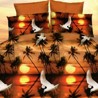 3 Pieces King 3D Bedsheet Sunset Theme Fitted Sheet Cover LinenCollection Bedding Set with Pillowcase