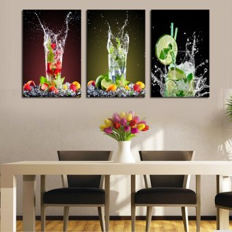 3 Sets Canvas Painting Lemon Glass Drink Art Cheap Picture Home Decor On Canvas Modern Wall Prints Artworks(No Frame)