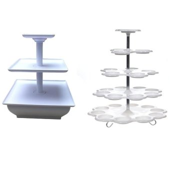 3 tier snack server white and 5tier cupcake stand bundle