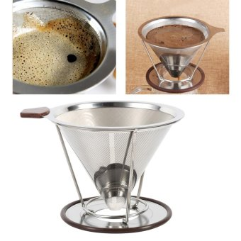 304 Stainless Steel Double Layer Coffee Drip Dripper Mesh Cone Filter - intl