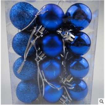 30mm Christmas Xmas Tree Ball Bauble Hanging Party Wedding Ornament Decor(Blue) - intl