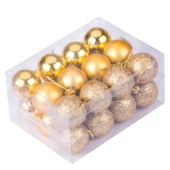 30mm Christmas Xmas Tree Ball Bauble Hanging Party Wedding Ornament Decor(Gold) - intl