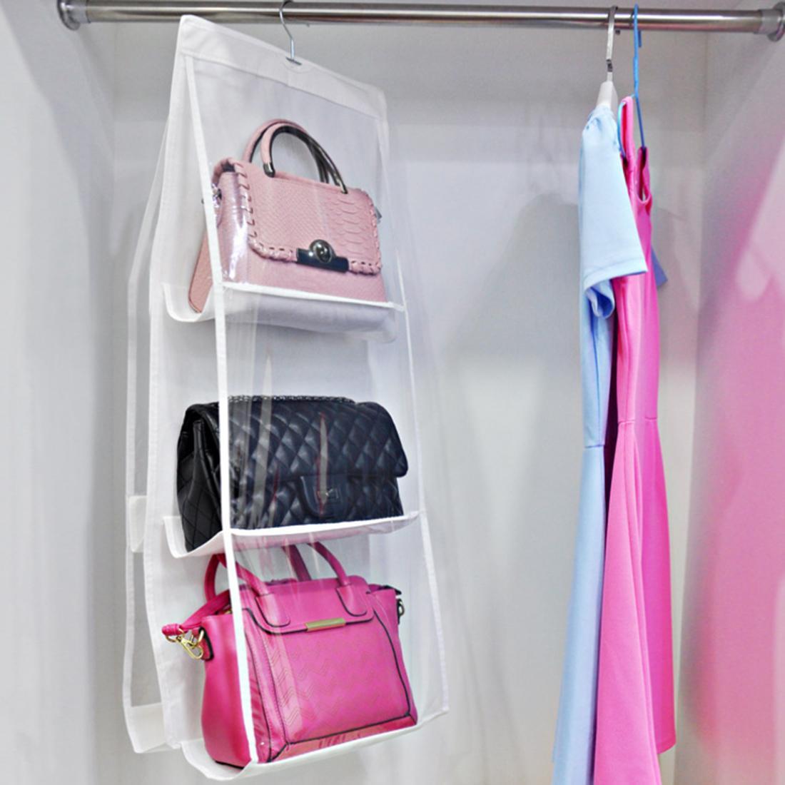 360DSC 6 Pockets Hanging Handbag Purse Bag Tidy Organizer StorageWardrobe Closet Hanger - White