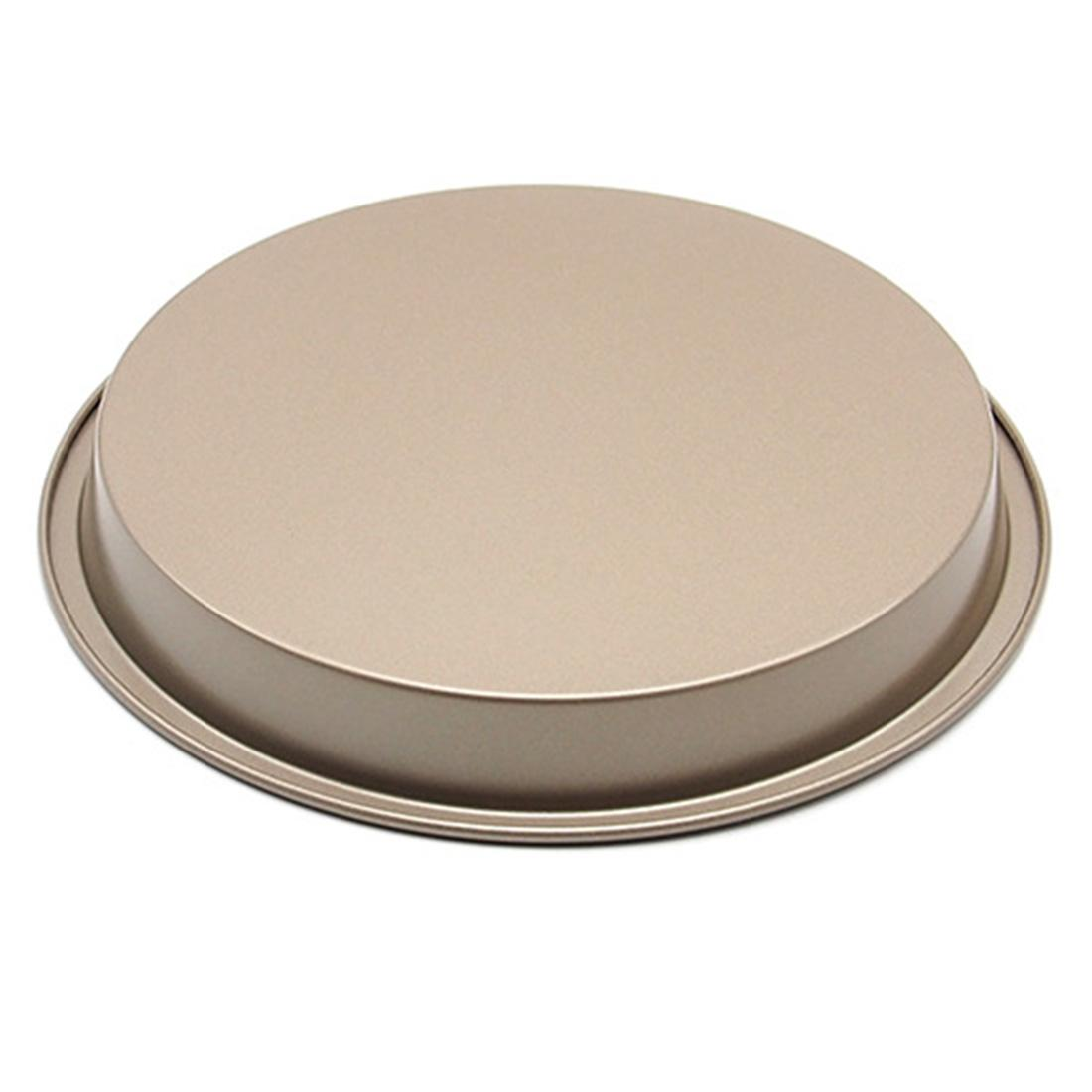360DSC 8-Inch Round Carbon Steel Non-stick Baking Pan Cookies PlatePizza Pan Tray Bakeware - Gold