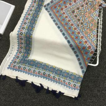 360DSC Vintage Women Spring Summer Rhombus Printing Tassels ScarfSunscreen Shawls Beach Towel - intl