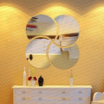 3D Circles Mirror Puzzle Home Decor Bell Cool Mirrors Wall Stickers- intl