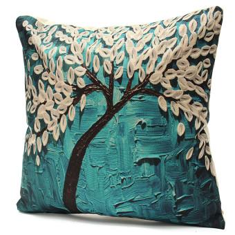 3D Flower Cotton Linen Pillow Case Waist Back Throw Cushion Cover Home Decor - 2