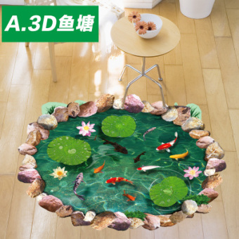 3D living room bathroom floor adhesive paper wall sticker