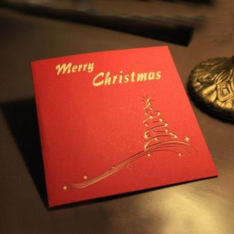 3D Merry Christmas Tree Greeting Cards Message Card ThanksgivingCard - intl - 4