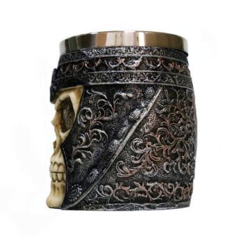 3D Skull Gothic Ossuary Style Beer Coffee Mug Striking WarriorTankard Viking Drinking Cup - 3