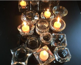 3pcs Different sizes Crystal glass Candle Holders Square solidproposal Wedding Candlestick Decoration - intl - 3