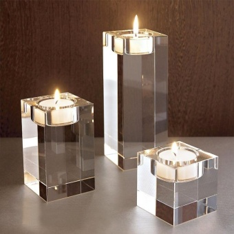 3pcs Different sizes Crystal glass Candle Holders Square solidproposal Wedding Candlestick Decoration - intl - 4