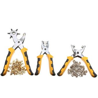 3set Punch Plier Duty Leather Hole Punches With 200pcs GrommetSetting Tool Kits - intl