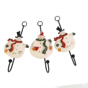3x Christmas Xmas Snowman Clothes Hat Resin Metal Hanger Hook Wall Mounted - picture 2