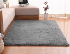 4 Cm Silk Hair Living Room Coffee Table Bedroom Carpet Grey