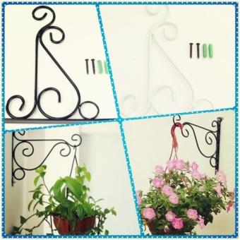 ... 4 Colors Wrought Iron Hanging Plant Stand Flower Pot Hooks HolderClassic Romantic Landscaping Bathroom Garden Decor ...