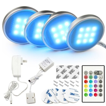 4 Pack Dimmable RGB LED Under Cabinet Lighting, Remote Control Closet Lighting 16 Colors for Kitchen - intl - 2