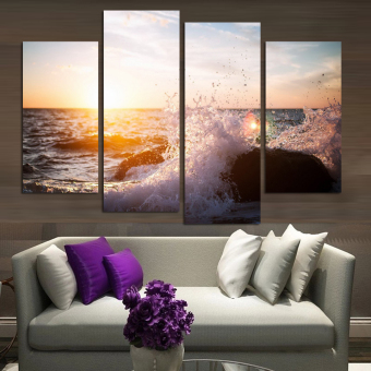 4 Panel Modern Printed Wall Art Abstract Seascape Wave GroupPainting On Canvas For Wall Decor Ready To Hang At Wall (No Frame)- intl