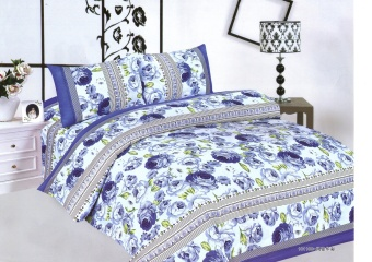 4-Piece Queen Size Bedding with Luxury Cotton Feel- Blue Floral byManhattan Homemaker