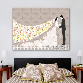 40x30cm Romantic Wedding Guest Book Canvas Painted FingerprintSignature Books style:1 - intl Price Philippines