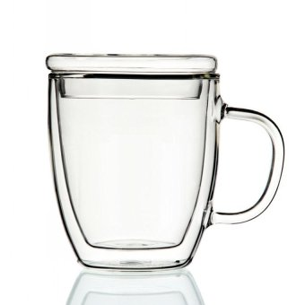 470 Ml Double-Wall Glass Mug With Cap - intl