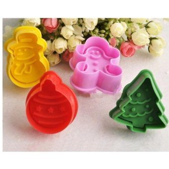 4Pcs Christmas Cookie Biscuit Cutters Set Bread Fondant Cake Mold Baking Tool - intl