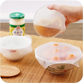 4pcs Multifunctional Silicone Food Fresh Keeping Saran Reusable Food Wraps Seal Vacuum Cover Lid Stretch Kitchen Tools - intl