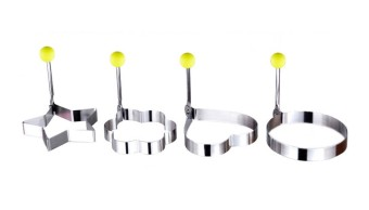 4pcs/set Stainless Steel 4 Kind Shaped Cooking Tools Fried EggPancake Ring Mould Shaper - 2