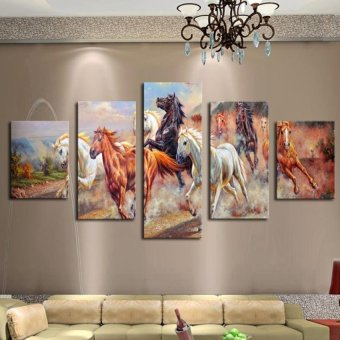 5 Panel Wall Art Horses Painting Colorful Horse Modern Art Unframed Painting Picture Print on Canvas for Home Decor