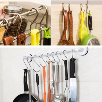 5 Pcs L Size Stainless S Shape Hooks Pot Pan Hanger Clothes Hanging Hooks - 5