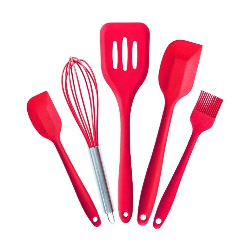 5 PCS Silicone Kitchen Utensils Spatula Cooking Utensils Set Kitchen Utensils(Red) - intl