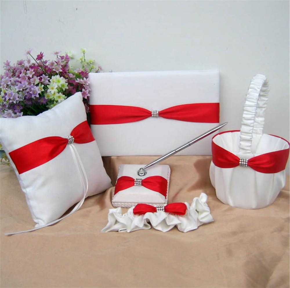 Philippines 5 Piece Rhinestone Heart Guest Book Set With Pen
