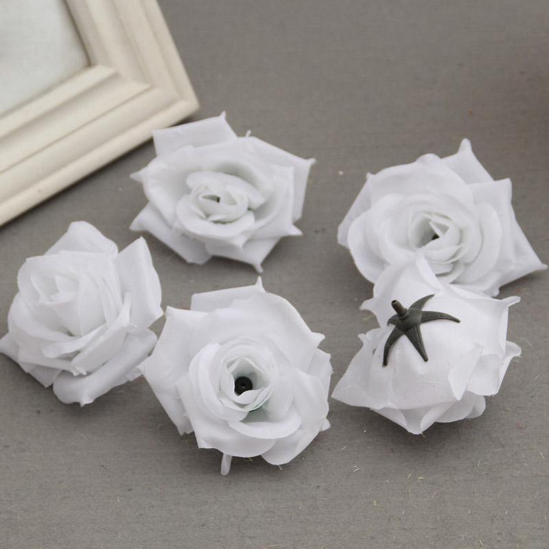 50 Pcs Fake Artificial Silk Rose Heads Flower Buds DIY BouquetCraft Decor(