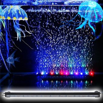 50CM RGB Air Bubble Aquarium Led Lighting Submersible Fish Tank Decoration Light 16 Colors With Remote Control - intl