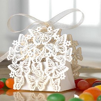 50pcs Chic Butterfly Gift Candy Paper Box Wedding Party Favor PaperBag White Intl - intl
