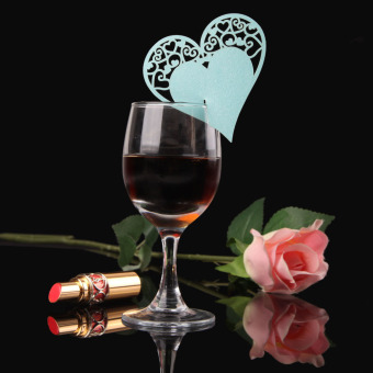 50PCS Fashion Heart-shaped Wine Glass Place Card Wedding Party Decor Blue (Intl) - picture 2