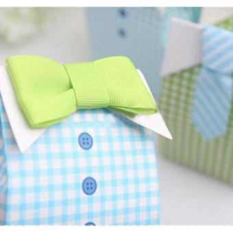 50pcs My Little Man Blue Green Bow Tie Birthday Boy Baby Shower Favor Candy Box for Wedding favor, Birthday Party