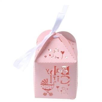50pcs Paper Candy Sweets Gift Bonboniere Cardboard Boxes Wedding Favors (Pink) - 2