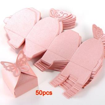 50pcs Pink Butterfly Decoration Vintage DIY Wedding Party Decoration Candy Boxes Baptism Birth Rose - 5