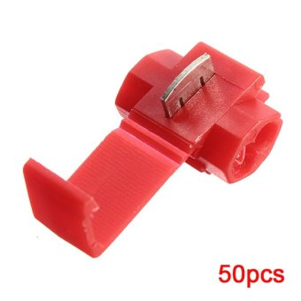 50pcs Quick Splice Connectors Lock Wire Terminals Crimp Electrical Electric - Red - Intl