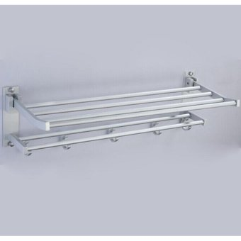 54cm Space Aluminum Wall Mounted Foldabel Towel Rack with Hooks intl 4 .