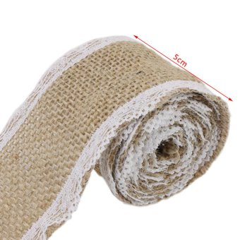 5cm Wide x 2m/Roll Linen Lace with Natural Burlap Ribbon Rustic Wedding Decor Christmas Gift Linen Wrapping Brown - Intl - picture 2