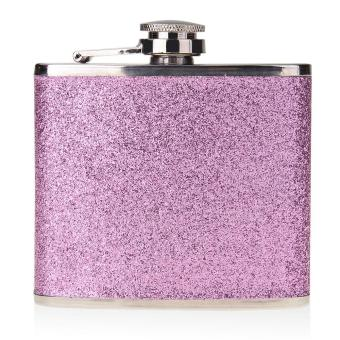 5oz Steel Stainless PU Alcohol Drink Liquor Wine Hip Flask LeatherPurple Bottle - Intl