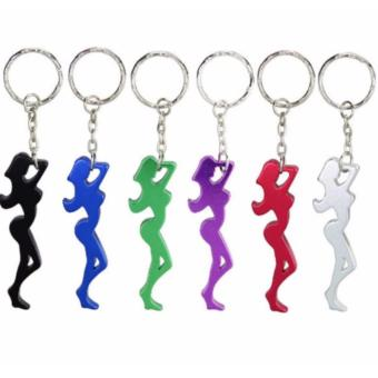 6 pcs. Beautiful Girl Aluminum Alloy Metal Creative Funny CoolBottle Opener Wine Beer Keychain - 2