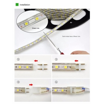 60 LEDs SMD 5050 Casing IP65 Waterproof LED Light Strip With PowerPlug, 60 LED/m, Length: 1m, AC 220V(White Light) - intl - 5