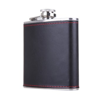 6oz Stainless Steel Hip Flask Faux Leather Wrapped Flagon Wine Pot Portable