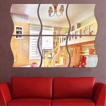 6PCS DIY Removable Home Room Wall Mirror Sticker Art Vinyl Mural Decor Decal - intl
