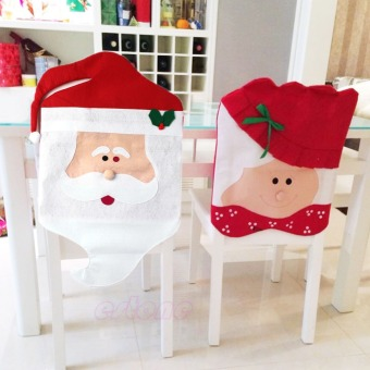6pcs/1set Lovely Christmas Chair Covers Mr & Mrs Santa Claus Christmas Decoration Dining Room Chair Cover Home Party Decor - intl - picture 2